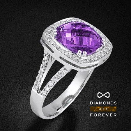 Купить Кольцо с аметистом, бриллиантами из белого золота 585 пробы