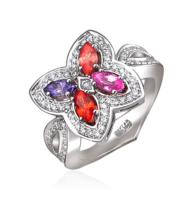Купить Кольцо с аметистом, цветными сапфирами, бриллиантами из белого золота 585 пробы