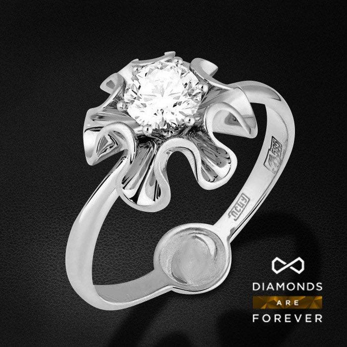 Кольцо с бриллиантами в белом золотеКольца с бриллиантами<br>Кольцо для помолвки с бриллиантами в белом золоте 585 пробы. Характеристики: 2 бриллиант 0.513. Средний вес: 3.64 гр.<br>