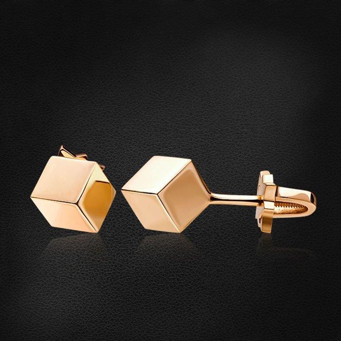 Геометрические серьги пусеты Cube из красного золота 585 пробыСерьги<br>Геометрические серьги пусеты Cube из красного золота 585 пробы. Средний вес изделия: 3,07 гр.<br>