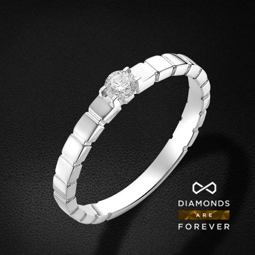 Кольцо для помолвки с бриллиантами из белого золота 585 пробыКольца с бриллиантами<br>Кольцо для помолвки с бриллиантами из белого золота 585 пробы. Характеристики вставок: бриллиант 1 0.16 3/6 кр57. Средний вес изделия: 2.45 гр.<br>