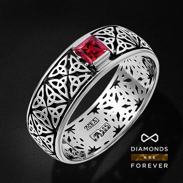 Мужское кольцо с рубином из белого золота 585 пробыПерстни<br>Мужское кольцо с рубином из белого золота 585 пробы. Характеристики вставок: 1 рубин природный 0,25. Средний вес изделия: 3.8 гр.<br>