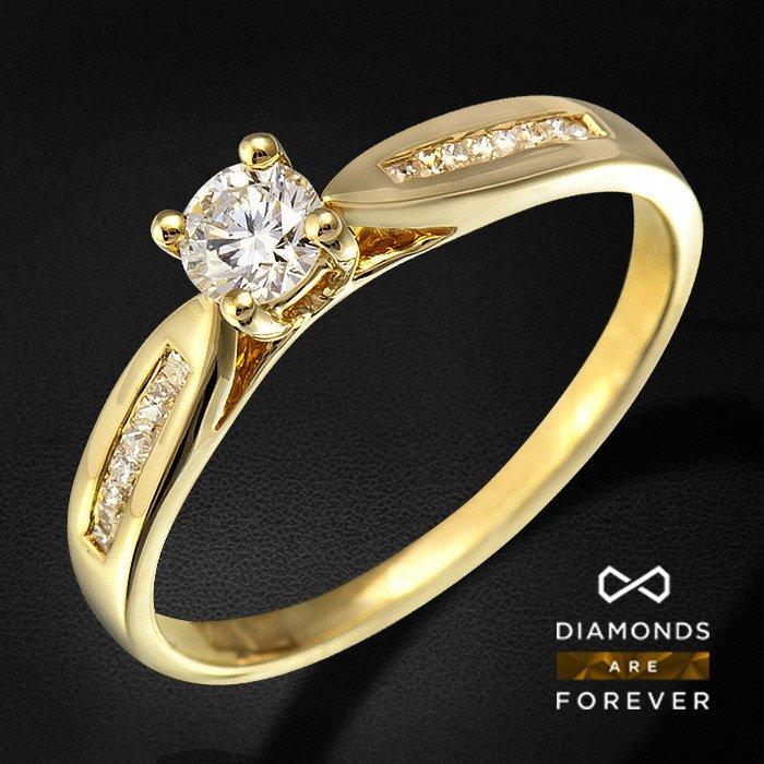 Кольцо с бриллиантами из желтого золота 585 пробыКольца<br>Кольцо с бриллиантами из желтого золота 585 пробы. Характеристики вставок: 16Бр Принц. 0.093/5 А; 1Бр Кр-57 0.203/5 А. Средний вес: 1,42 гр.<br>