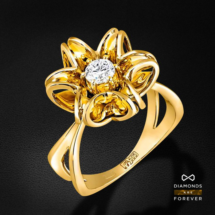 Кольцо с бриллиантами из желтого золота 585 пробыКольца<br>Кольцо с бриллиантами из желтого золота 585 пробы. Характеристики вставок: 1 бриллиант 0,35. Средний вес изделия: 6.2 гр.<br>