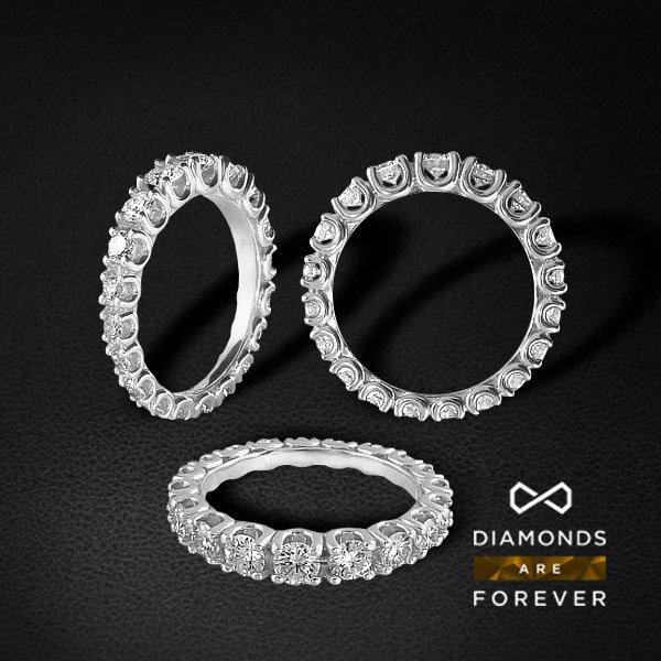 Кольцо дорожка с бриллиантами из белого золота 585 пробыЮвелирные украшения<br>Кольцо дорожка с бриллиантами из белого золота 585 пробы. Средний вес: 4,37 гр.<br>