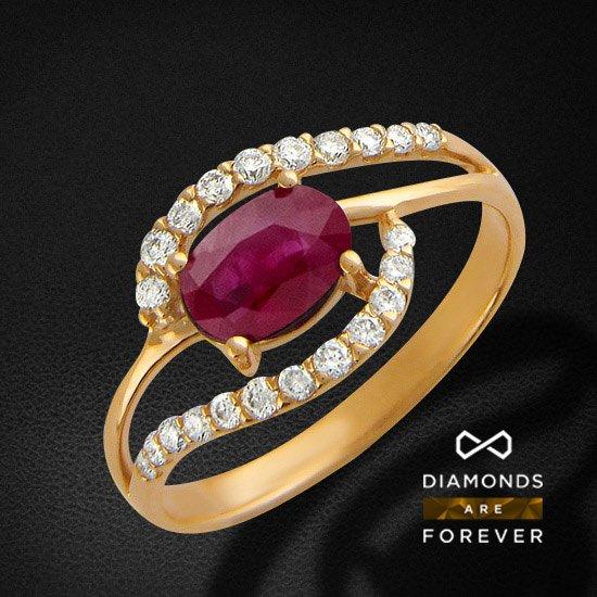 Кольцо с рубином, бриллиантами из красного золота 585 пробыКольца с цветными камнями<br>Кольцо с рубином, бриллиантами из красного золота 585 пробы. Характеристики вставок: бриллиант кр-57 2/6 18шт.,0.19ct ; бриллиант кр-57 3/6 4шт.,0.03ct ; рубин овал 2/3 1шт.,1.21ct. Средний вес изделия: 2.57 гр.<br>