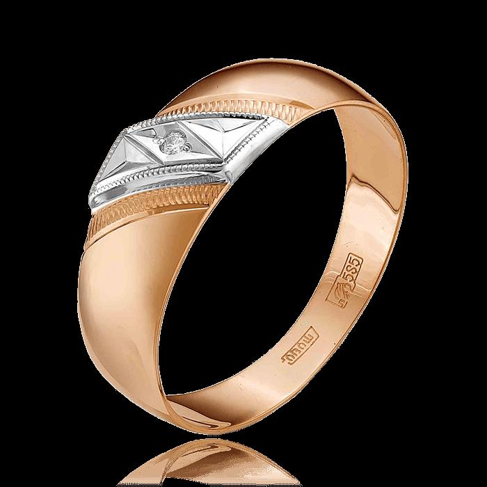 Купить Обручальное кольцо с бриллиантами из красного золота 585 пробы
