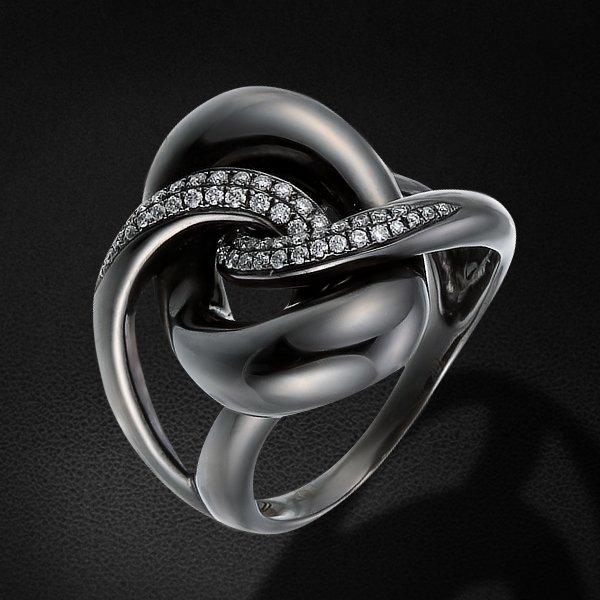 Кольцо с бриллиантами из черного золота 750 пробыКольца<br>Кольцо с бриллиантами из черного золота 750 пробы. Характеристики вставок: бриллиант кр57 4/5 - 52шт., вес 0.25. Средний вес изделия: 9,26 гр.<br>