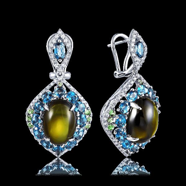 Купить Серьги с турмалинами, лондонскими топазами, тсаворитами, бриллиантами в белом золоте 585 пробы