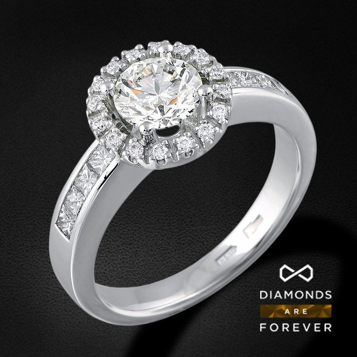 Роскошное кольцо с бриллиантами из белого золота 585 пробыКольца<br>Роскошное кольцо с бриллиантами из белого золота 585 пробы. Характеристики вставок: бриллиант 57кр 1-1.01ct 3/5а, бриллиант 57кр 16-0.103ct 4/5а, бриллиант принцесса 8-0.35ct 3/5а. Средний вес изделия: 5.57 гр.<br>