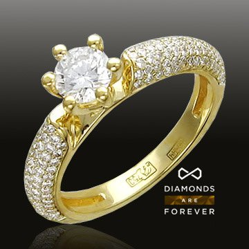 Помолвочное кольцо с бриллиантами из желтого золота 750 пробыЮвелирные украшения<br>Кольцо с бриллиантами из желтого золота 750 пробы. Характеристики вставок: бриллиант 2/5 100шт.,0.38ct ; бриллиант 2/5 16шт.,0.06ct ; бриллиант 3/6 1шт.,0.59ct. Средний вес изделия: 4,72 гр.<br>