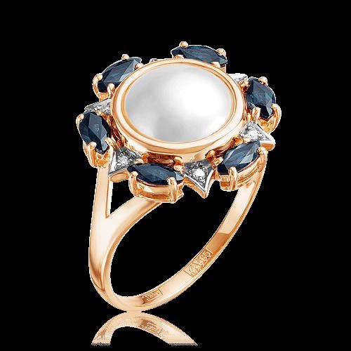 Купить Кольцо с жемчугом, бриллиантами, сапфиром из красного золота 585 пробы