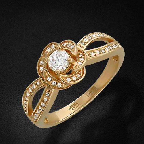 Кольцо с фианитами из желтого золота 585 пробыКольца<br>Кольцо с фианитами из желтого золота 585 пробы. Характеристики вставок: фианит круг  51шт.,0.78ct. Средний вес изделия: 3,81 гр.<br>