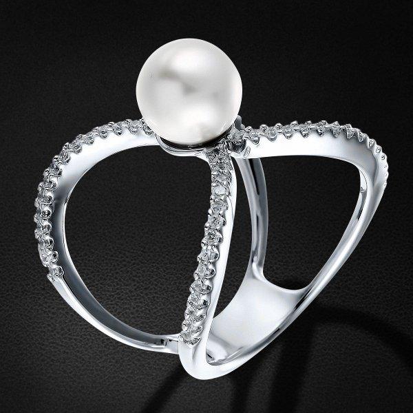 Кольцо с жемчугом , цирконием из серебра 925 пробыКольца<br>Кольцо с жемчугом , цирконием из серебра 925 пробы. Средний вес: 5,56 гр.<br>