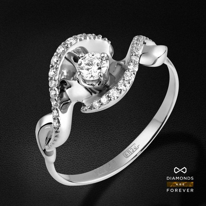 Кольцо с бриллиантами из белого золота 585 пробыКольца<br>Кольцо с бриллиантами из белого золота 585 пробы. Характеристики вставок: 23 бриллиант 0,308. Средний вес изделия: 2.89 гр.<br>