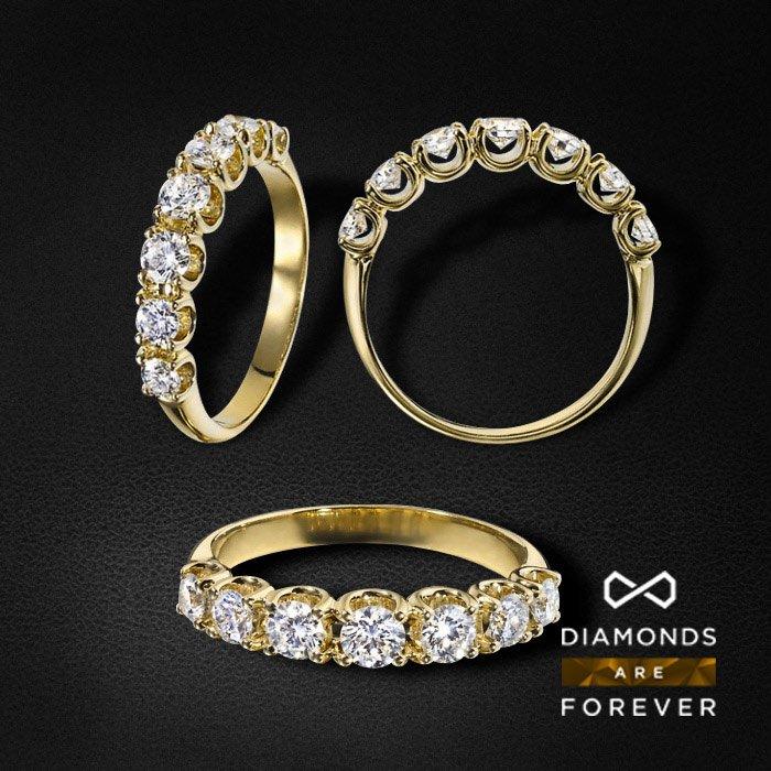Кольцо дорожка с бриллиантами из желтого золота 750 пробыЮвелирные украшения<br>Кольцо дорожка с бриллиантами из желтого золота 750 пробы. Средний вес: 4,47 гр.<br>