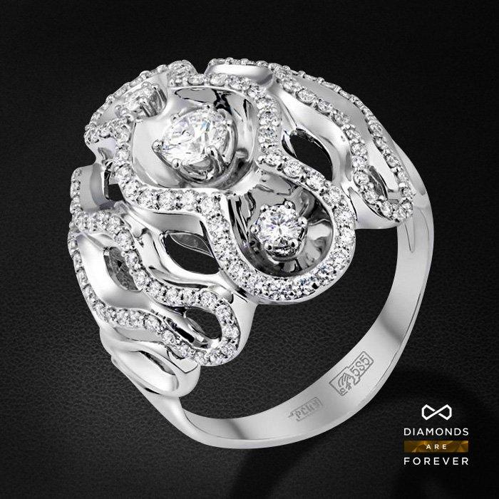 Кольцо с бриллиантами из белого золота 585 пробыКольца<br>Кольцо с бриллиантами из белого золота 585 пробы. Характеристики вставок: 124 бриллиант 1. Средний вес изделия: 9.17 гр.<br>