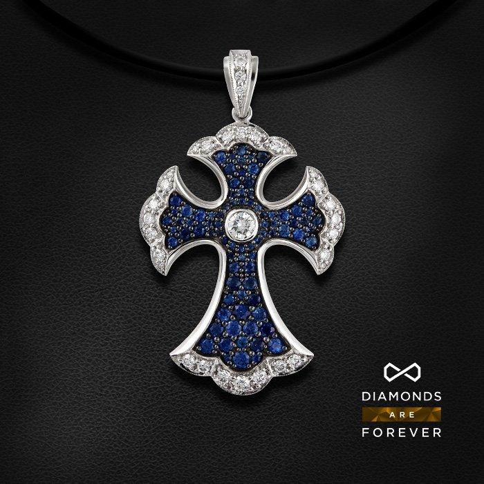 Купить Крест с сапфиром, бриллиантами из белого золота 585 пробы