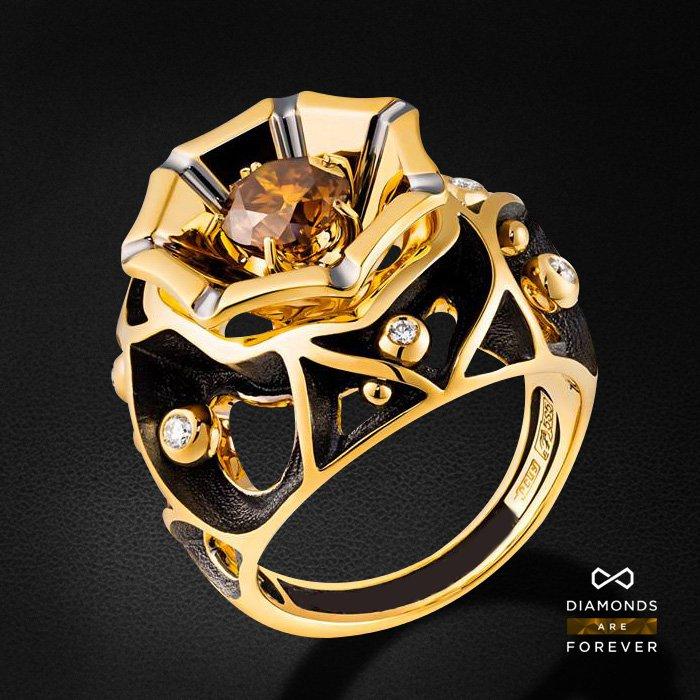 Кольцо с бриллиантами из желтого золота 585 пробыКольца<br>Кольцо с бриллиантами из желтого золота 585 пробы. Характеристики вставок: 7 бриллиант 1,146. Средний вес изделия: 16.48 гр.<br>