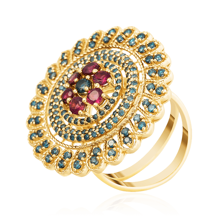 Купить Кольцо с топазом, бриллиантами, турмалином из желтого золота 585 пробы