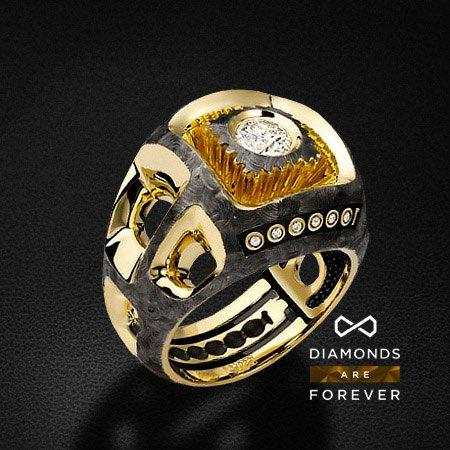 Мужское кольцо с бриллиантами из желтого золота 585 пробыДля мужчин<br>Мужское кольцо с бриллиантами из желтого золота 585 пробы. Характеристики вставок: 7 бриллиантов 0.48 карат 3/5. Средний вес: 23,24 гр.<br>