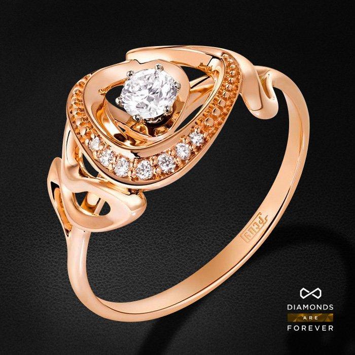 Кольцо с бриллиантами из красного и белого золота 585 пробыКольца<br>Кольцо с бриллиантами из красного и белого золота 585 пробы. Характеристики вставок: 8 бриллиант 0,207. Средний вес изделия: 2.53 гр.<br>