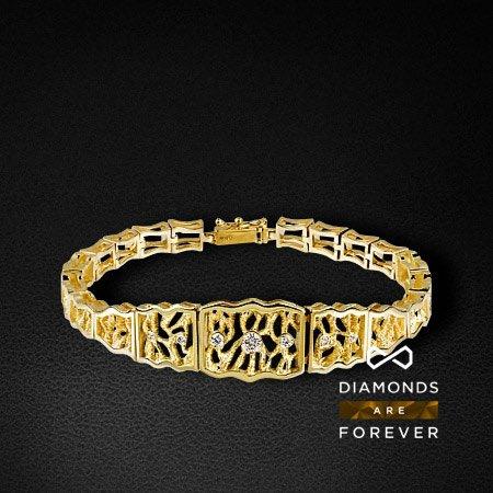 Браслет из желтого золота 585 пробы с 7 бриллиантами (коллекция Стихии)Браслеты<br>Браслет золотой с 7 бриллиантами. Характеристики вставок: 7 брил. весом 0.247 ct. Средний вес: 20.78 гр.<br>