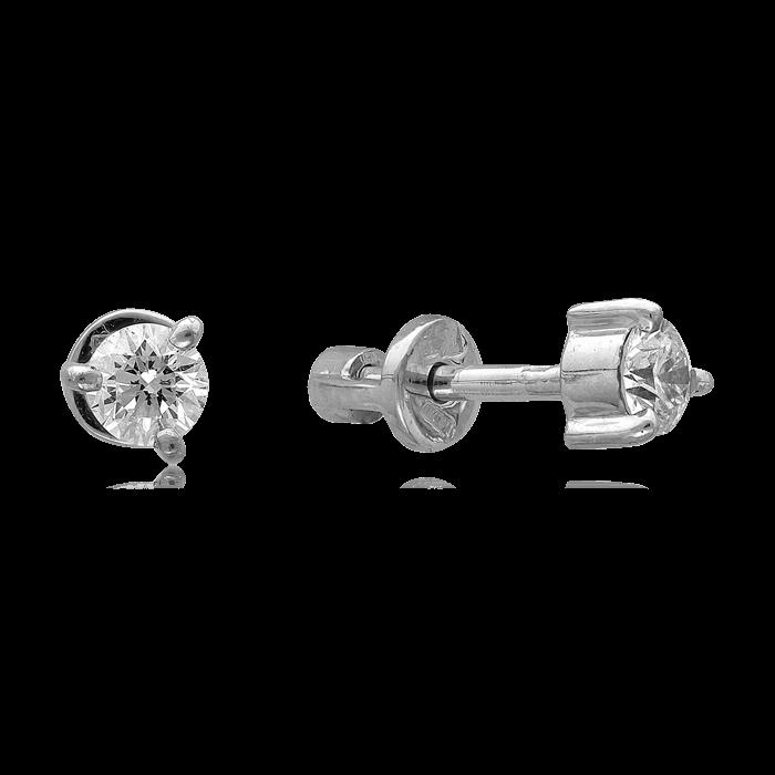 Серьги с бриллиантами из белого золота 585 пробыСерьги<br>Серьги с бриллиантами из белого золота 585 пробы. Характеристики вставок: 2 бриллиант кр57 3/6а 0,331. Средний вес изделия: 1,23 гр.<br>