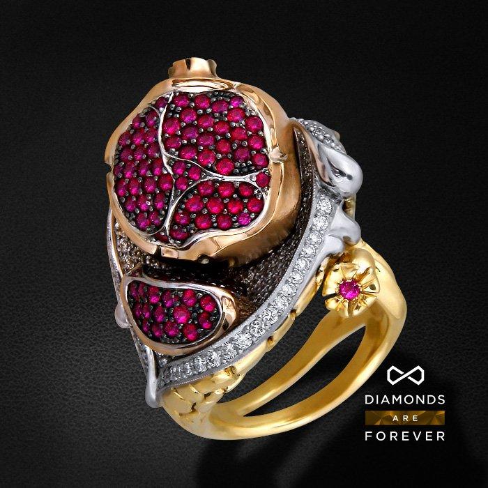 Купить Кольцо Цвет граната с рубином, бриллиантами из белого и желтого золота 750 пробы