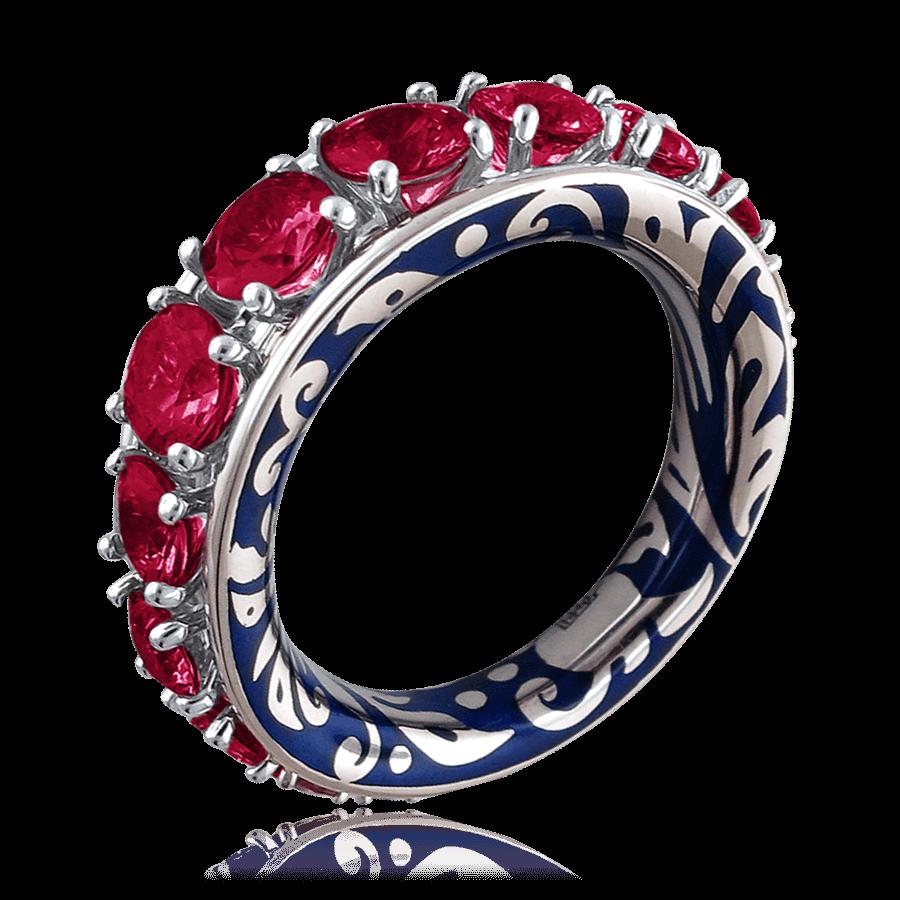 Купить Кольцо с рубином, эмалью из белого золота 750 пробы
