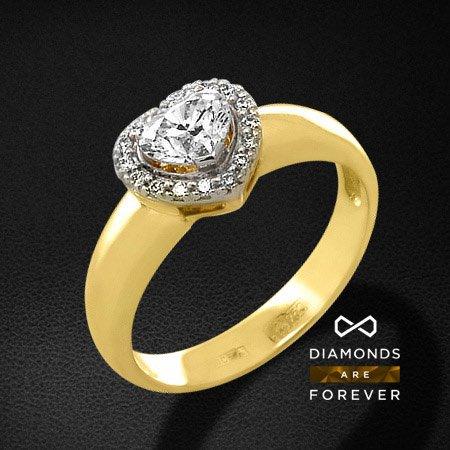 Кольцо сердце с бриллиантами из желтого золота 750 пробыКольца с бриллиантами<br>Кольцо сердце с бриллиантами из желтого золота 750 пробы. Характеристики вставок: 1 бриллиант сердце-57 0,465; 16 бриллиант кр57 0,075. Средний вес изделия: 3.76 гр.<br>