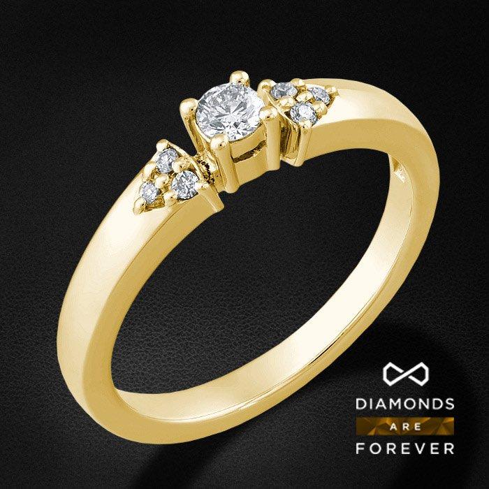 Кольцо для помолвки с бриллиантами из желтого золота 585 пробыКольца<br>Кольцо для помолвки с бриллиантами из желтого золота 585 пробы. Характеристики: 1 бриллиант 0.155 5/5А, 6 бриллиантов 0.089 5/5А. Средний вес: 2,7 гр.<br>