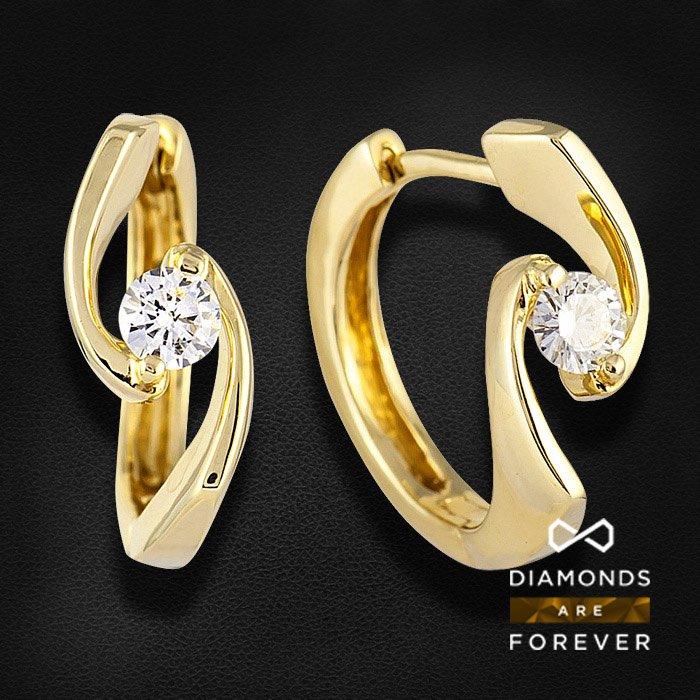Серьги с бриллиантами из желтого золота 585 пробыЮвелирные украшения<br>Серьги с бриллиантами из желтого золота 585 пробы. Характеристики вставок: 2Бр кр57 0.24 1/5А. Средний вес: 3,73 гр.<br>