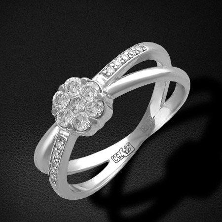 Кольцо малинка с бриллиантами из белого золота 750 пробыЮвелирные украшения<br>Кольцо с бриллиантами из белого золота 750 пробы. Характеристики вставок: бриллиант 2/5 7шт.,0.35ct ; бриллиант 3/4 10шт.,0.06ct. Средний вес изделия: 4,23 гр.<br>