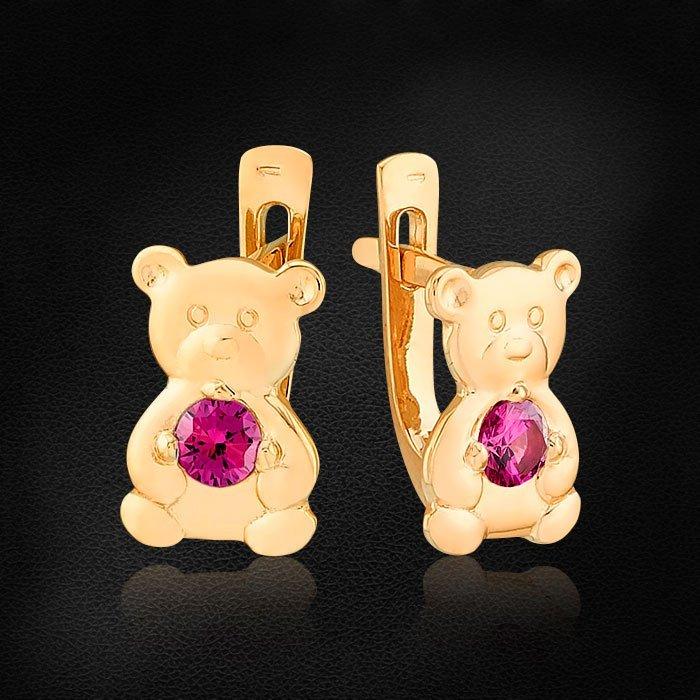 Детские серьги Мишки с фианитами из красного золота 585 пробыСерьги<br>Детские серьги Мишки с фианитами из красного золота 585 пробы. Средний вес: 1,98 гр.<br>