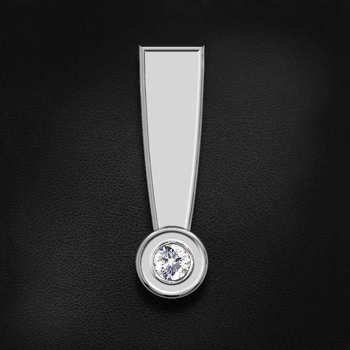 Подвеска с бриллиантами из белого золота 585 пробыКулоны<br>Подвеска с бриллиантами из белого золота 585 пробы. Характеристики вставок: бриллиант кр-57 4/7 1шт.,0.01ct. Средний вес изделия: 0,32 гр.<br>