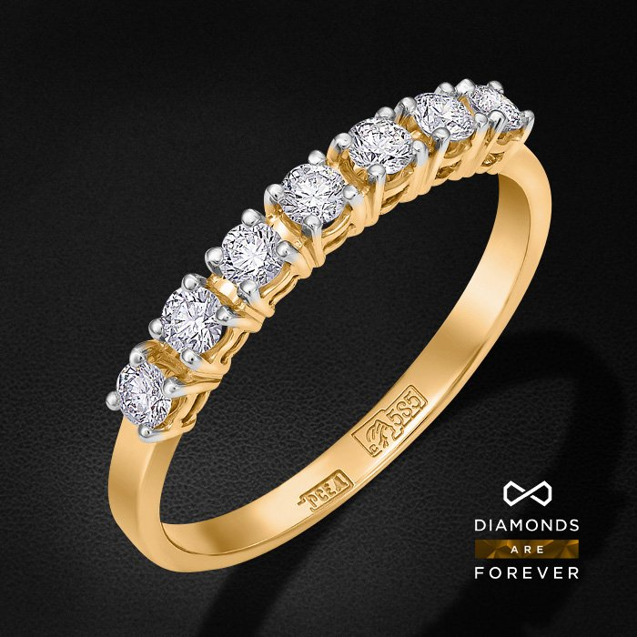 Кольцо дорожка с бриллиантами из красного золота 585 пробыКольца с бриллиантами<br>Кольцо дорожка с бриллиантами из красного золота 585 пробы. Характеристики вставок: 7 бриллиант кр57 0.48. Средний вес изделия: 2.81 гр.<br>