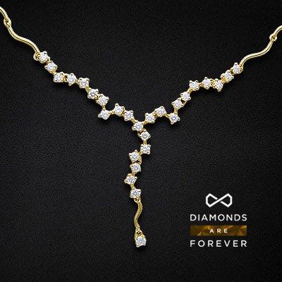 Колье с бриллиантами Подарок весныКолье<br>Колье из желтого золота 750 пробы, украшенное 28 бриллиантами общим весом 2.83 карат<br>