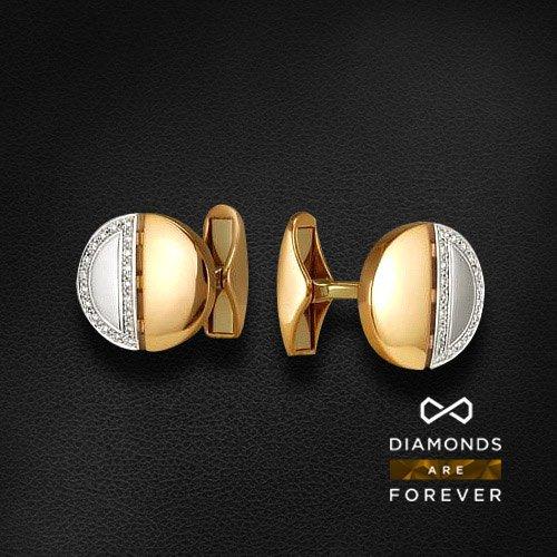 Запонки с бриллиантами из комбинированного золота 585 пробыДля мужчин<br>Запонки с бриллиантами из комбинированного золота 585 пробы. Характеристики вставок: бриллиант 57кр 38-0.116ct 3/5а. Средний вес изделия: 7,5 гр.<br>