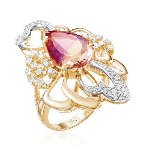 Купить Кольцо с аметрином, бриллиантами из желтого золота 585 пробы