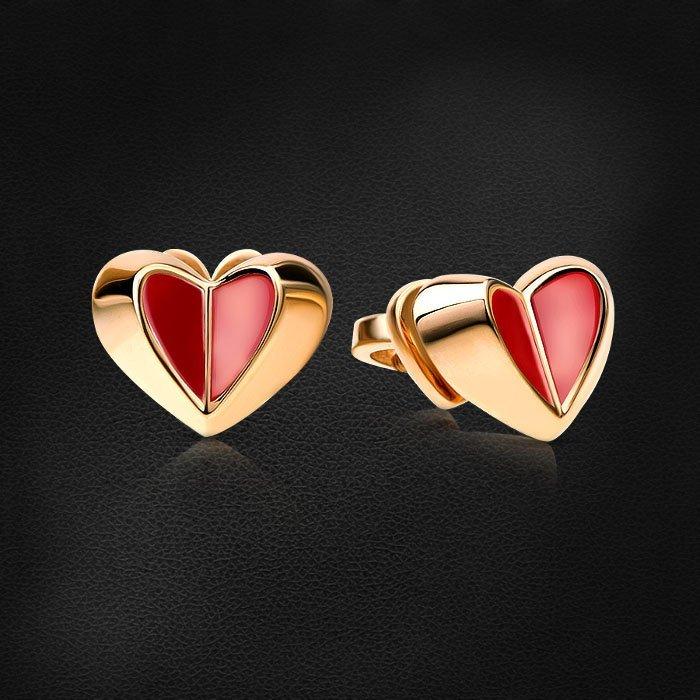 Пусеты в форме сердец с эмалью из красного золота 585 пробыСерьги<br>Пусеты в форме сердец с эмалью из красного золота 585 пробы. Характеристики вставок: эмаль. Средний вес изделия: 2,42 гр.<br>