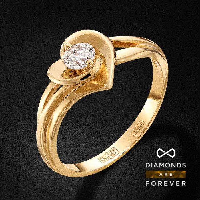 Кольцо с бриллиантами из желтого золота 585 пробыКольца<br>Кольцо с бриллиантами из желтого золота 585 пробы. Характеристики вставок: 1 бриллиант кр 57 4-3.40 3/5а 4.2 0.275ct.. Средний вес изделия: 3.18 гр.<br>