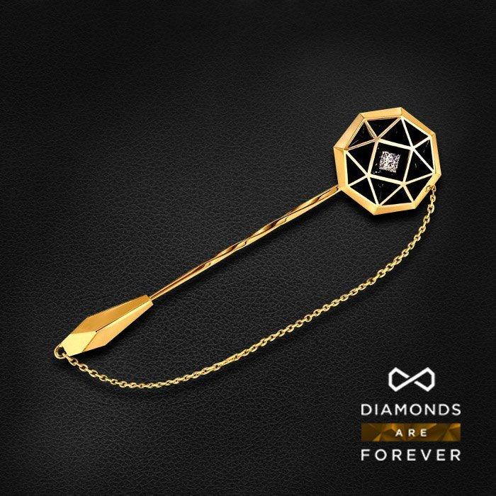 Заколка с бриллиантом в желтом золотеЗажимы для галстука<br>Заколка с бриллиантом в желтом золоте 585 пробы. Характеристики: 1 бриллиант 0.5. Средний вес: 19.4 гр.<br>