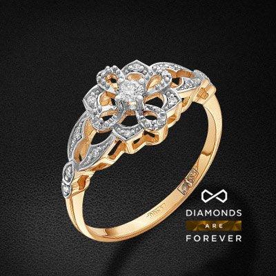 Кольцо с бриллиантами из желтого золота 585 пробыКольца<br>Кольцо с бриллиантами из желтого золота 585 пробы. Характеристики вставок: 1 бриллиант кр 57 20-15 3/5а 2.4-2.5 0.059ct., 16 бриллиант кр 57 400-200 3/5а 0.95-1.0 0.06ct. . Средний вес изделия: 2.61 гр.<br>