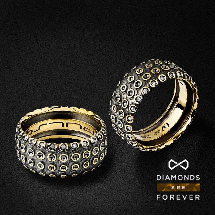 Мужское кольцо с бриллиантами в желтом золоте 585 пробыДля мужчин<br>Мужское кольцо с бриллиантами в желтом золоте 585 пробы. Характеристики: 25 бриллиантов 0.17. Средний вес: 16,45 гр.<br>