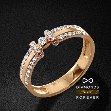 Кольцо с бриллиантами из красного золота 585 пробыКольца с бриллиантами<br>Кольцо с бриллиантами из красного золота 585 пробы. Характеристики вставок: 1 бриллиант кр57 0,044; 38 бриллиант кр57 0,222. Средний вес изделия: 3.08 гр.<br>