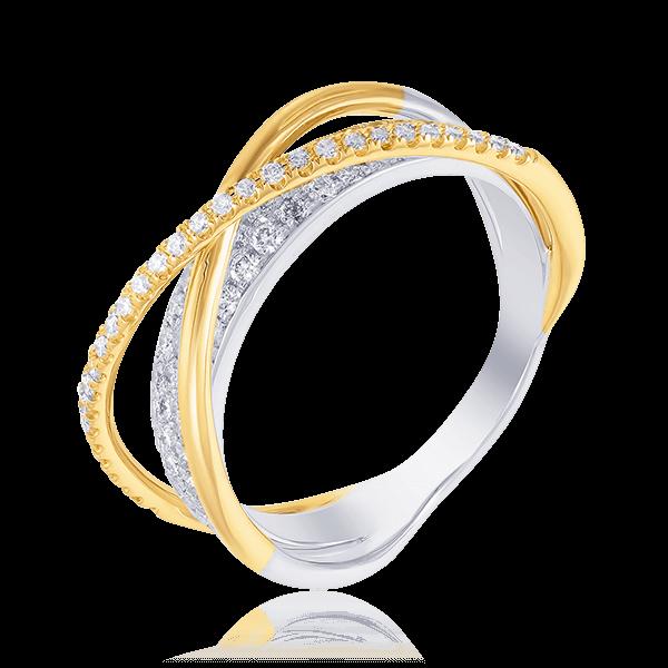 Купить Кольцо с бриллиантами из комбинированного золота 585 пробы