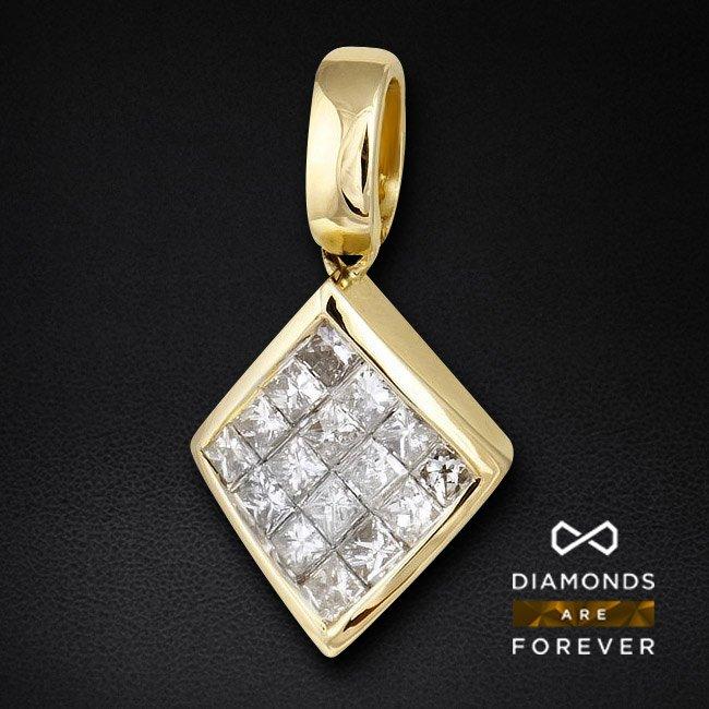 Кулон с бриллиантами из желтого золота 585 пробыКулоны<br>Кулон с бриллиантами из желтого золота 585 пробы. Характеристики вставок: 16бр. принц. 0.48 3/5 А. Средний вес изделия: 1,83 гр.<br>