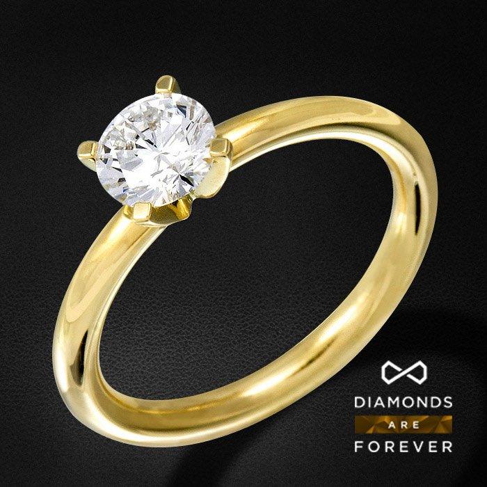 Кольцо с 1 бриллиантом для помолвки из желтого золота 750 пробыЮвелирные украшения<br>Кольцо для помолвки с бриллиантами из желтого золота 750 пробы. Характеристики вставок: 1Бр Кр-57 0.25 4/5 А. Средний вес: 3,88 гр.<br>