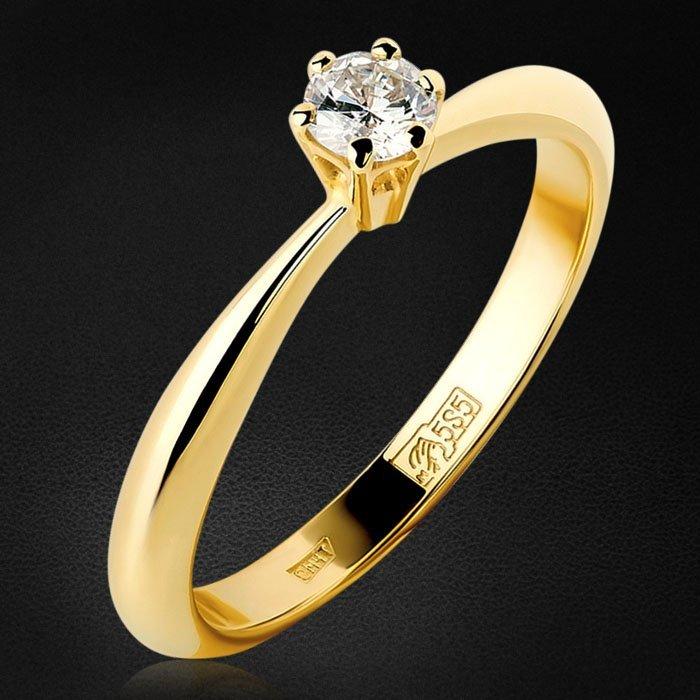 Кольцо с бриллиантами из желтого золота 585 пробыКольца<br>Кольцо с бриллиантами из желтого золота 585 пробы. Характеристики вставок: 1бриллиант круг 0,180ct4/6. Средний вес изделия: 2,38 гр.<br>